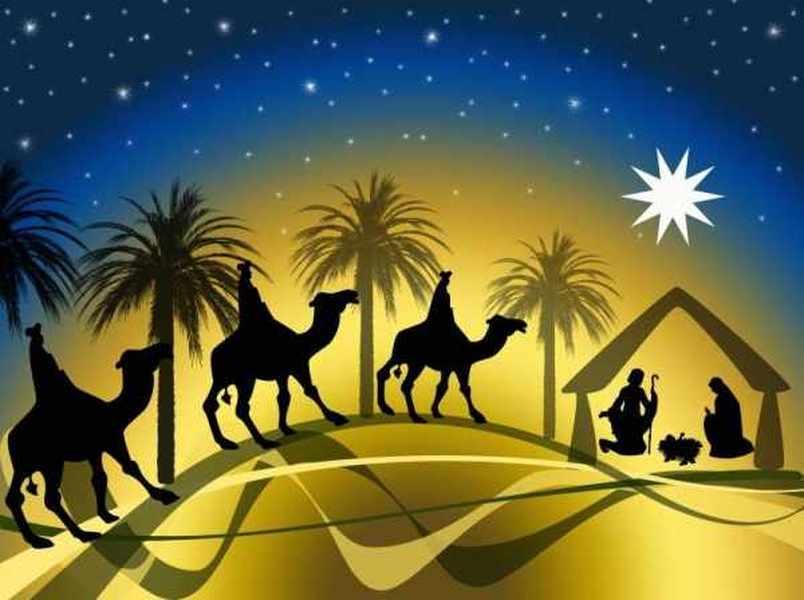 Les mages, suivant l'étoile, vont à la crèche se prosterner devant le Roi des Juifs